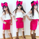 US Kids Baby Girl Off shoulder Lace Floral Tops+Skirts Dress Outfits Set Clothes