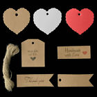 50/100 Kraft Paper Gift Tags Wedding Favor Scallop Label Luggage Blank + Strings