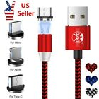2.4A Fast Magnetic Micro USB Type C iOS Android Plug Charger Lightning Cable Lot