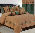 Внешний вид - Rustic Gold+Turquoise Embroidery Texas Star Western Luxury Comforter Suede 7Pc's
