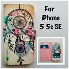 iPhone 5 5s SE Dream Catcher Pattern Leather Wallet Case With Card Slots
