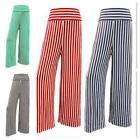 WOMENS LADIES HIGH WAIST STRIPED PRINT WIDE LEG HAREM TROUSERS BAGGY FLARED PANT