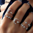 5/1pcs Vintage Women Cute Moon Star Rhinestone Boho Knuckle Midi Finger Ring Set