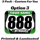Dirt Bike Number Name Plate Mini Decals Stickers Flat Track Race Pro AMA MX KTM