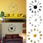 Office Room Modern 3D Acrylic Sticker Wall Clock Roman Numerals Mirror Surface