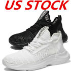 Casual Mens Breathable Lace up Sneakers Sports Black Gym Golf Mesh Tennis Shoes