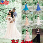 Photography Prop Pregnant Women Lady Off Shoulder Lace Maxi Dress Gown Maternity