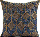 Blue Decorative Pillow Covers, Silk fabric 16x16 Inch -Moroccan Blue