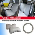 Gray PU Leather Suede 5 Car Seat Covers Cushion Front Rear 802551 Dodge $74.95 USD on eBay