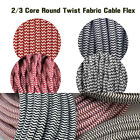 Twisted/Round Vintage Brown Fabric Red&White Lighting Cable Flex 2/3 Core 0.75mm