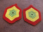 "Beautiful Handmade Crocheted Pot Holder Set 2 Red Lime Yellow 5 1/2"" WOW"