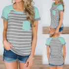 Women Casual Short Sleeve Striped Patchwork Pocket Blouse Tops Clothes T Shirt
