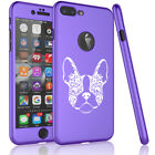 For iPhone 360° Thin Slim Case Cover + Screen Protector French Bulldog Floral