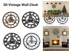 Large Outdoor Garden Wall Clock Big Roman Numerals Giant 3D Vintage Wall Clock