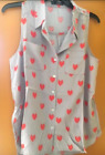 New Wyatt Collection Heart Sleeveless Collared Top Sz XS S M L $98