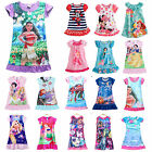 Girls Kids Disney Cartoon Princess Dress Pyjamas Nightwear Nightgown Sleepwear image