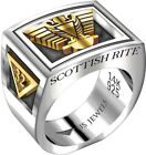 Mens Two-Tone Scottish Rite 0.925 Sterling Silver 14k Yellow Gold Freemason Ring