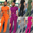 Women Fashion Round Neck Short Sleeve Solid Wide Leg Pants Jumpsuit Casual 2pcs