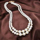 Ee_ Hk- Women Faux Pearl Beads Rhinestone Inlaid Double Layer Necklace Jewelry G