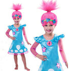 Child Trolls Poppy Troll with Wig Fancy Dress Cosplay Costume Kids Girl Outfits image