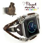 Marval Power Leather Watch Band Strap Metal Frame For Fitbit Blaze Tracker image