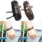 Black Brown Leather Christian Bible Cross Bracelet Mens/Ladies Religious Charm image