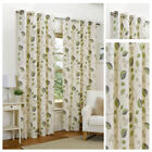 Ready Made Green Leaf Design Curtains Full Lined Eyelet Ring Top All Sizes