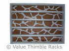 50 thimble display rack in white with a giraffe themed felt back/animal print