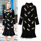Occident autumn fashion lapel dragonfly embroidery fishtail dress wholesale S-XL