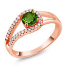 0.85 Ct Round Green Chrome Diopside 18K Rose Gold Plated Silver Ring