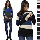Happy Mama Women's Maternity Nursing Knitwear Ribbed Crew Neck Long Sleeves 451p