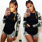 Women's Casual Long Sleeve Camouflage Blouse T Shirt Slim Fit Tops Pullover
