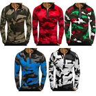 Men's Slim Fit Long Sleeve Camouflage Muscle Tee T-shirt Casual Tops Polo Shirts