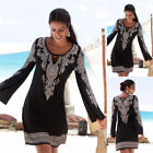 UK 6-18 Womens Lace Up Print Bodycon Bell Sleeve Ladies Casual Party Dress