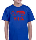 MERICA ROYAL BLUE & RED YOUTH T SHIRT BOYS & GIRLS AMERICA INDEPENDENCE JULY 4