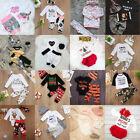 Christmas Infant Kids Baby Girl Boys Floral Tops Romper Pants Outfits Clothes US