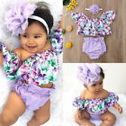 US Newborn Baby Girls Off Shoulder Floral Tops Shorts Briefs 3pcs Outfit Clothes