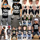 USA Kids Baby Boys Camo Denim Outfits Tops T-shirt Pants Trousers Clothes Set