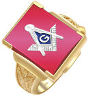 Customizable Two Tone Solid Back 10k 14k Gold Masonic Blue Lodge Ring