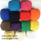 4mm 110m Macrame Rope Natural Color Cotton Twisted Cord Sash Artisan Hand Craft