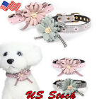 Adjustable Lovely Cute Flower Bowknot Tie Pet Dog Collar Cat Neck Strap Leather