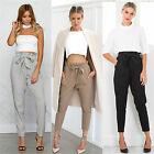 Women High Waist Casual Drawstring Elastic Long Pants Ladies