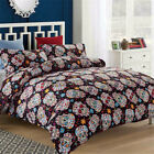 Floral Duvet Cover Set Skull Twin Full Queen Pillow Case Quilt Cover Bedding New image