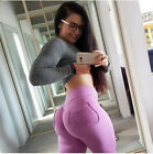 High Waist Slim Breathable Hip Sports Running Yoga Pants Solid Long Leggings