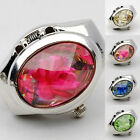 Women Fashion Luxury Rhinestone Ring Watch Oval Cover Mini Quartz Watch Soft image