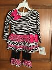 Bonnie Jean  2 PC Outfit Zebra and pink 12mos,18mos,24mos