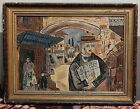60's  oli painting of Jerusalem spenish family with newspaper - הצבי  By Blaw.