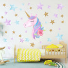 Unicorn Hearts Stars Wall Art Stickers Girls Bedroom Decals 64 Hearts & Stars