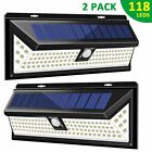 118 LED Solar Powered PIR Motion Sensor Wall Light Outdoor Garden Lamp 3 Modes