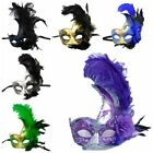 Women Costume Mask Feather Masquerade Mask Halloween Mardi Gras Cosplay Party